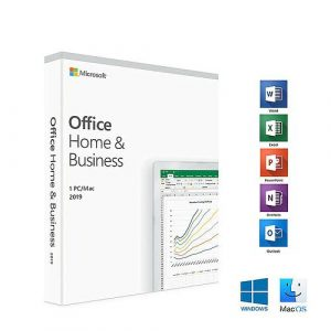 Office 2019 Home and Business picture of box with list of applications along side including the icons for word, excel, powerpoint, outlook, onenote