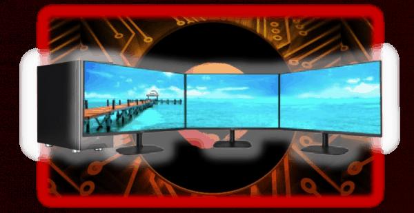 "Ryzen Logo behind a Ryzen 9 32GB Desktop PC with triple 27"" AOC LCD monitors"