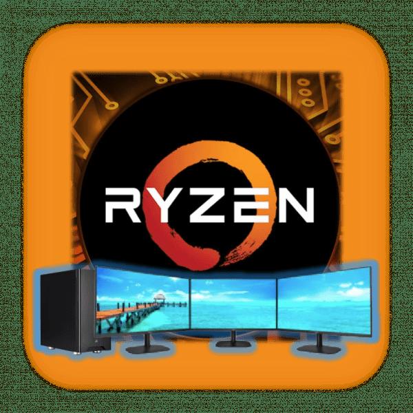 "Ryzen 9 Logo over a Ryzen 9 32GB Desktop PC with triple 27"" AOC LCD monitors"