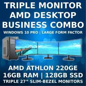 Triple Monitor Business Machine with WIndows 10 Pro