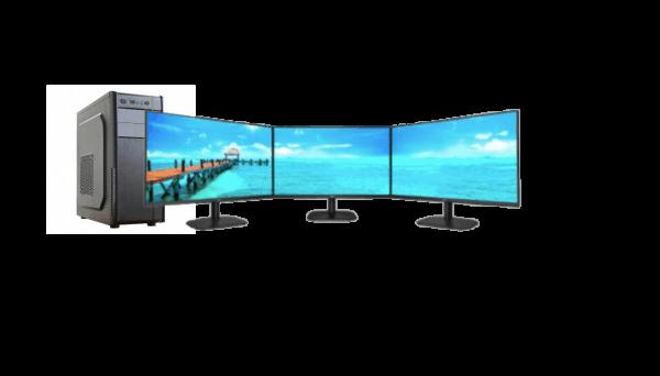 "Riverina Digital brand business desktop bundle with triple 27"" AOC monitors. AMD Athlon 16GB RAM, 128GB SSD"